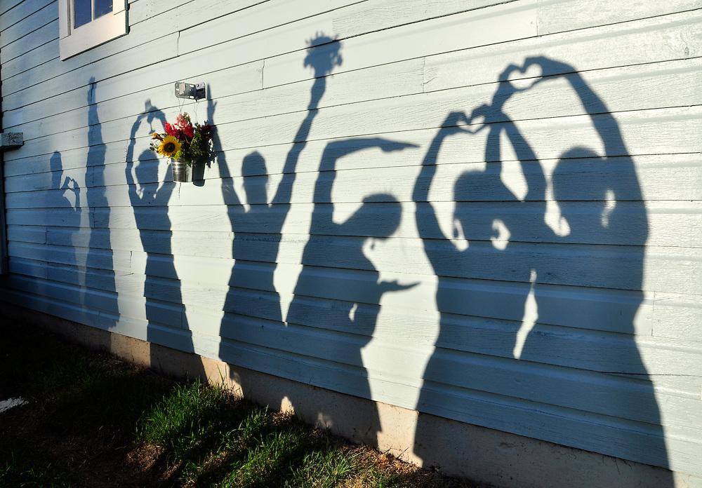Shadows of a bride and bridesmaids on a barn.