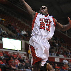 Dec 20, 2008; Piscataway, NJ, USA; Rutgers forward Patrick Jackson (23) slam dunks a basket in the closing minutes of Rutgers' 67-37 victory over Bryant at the Louis Brown Rutgers Athletic Center.
