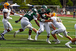 BLOOMINGTON, IL - September 28:  David Lane gets a hand on Hamid Bullie during a college football game between the IWU Titans and the Augustana Vikings on September 28 2019 at Wilder Field in Tucci Stadium in Bloomington, IL. (Photo by Alan Look)