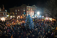 DOYLESTOWN, PA -  NOVEMBER 29: A crowd of thousands watched as the Doylestown Christmas Tree was lit November 29, 2013 in Doylestown, Pennsylvania. (Photo by William Thomas Cain/Cain Images)