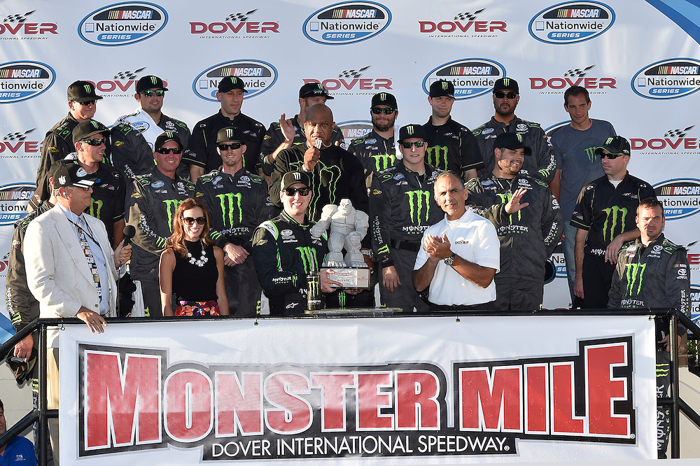 25-27 September, 2014, Dover, Delaware USA<br /> Kyle Busch, Monster Energy Toyota Camry celebrates the win in victory lane with team and crew<br /> &copy;2014, Scott R LePage <br /> LAT Photo USA