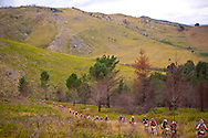 GREYTON, SOUTH AFRICA - A traffic jam of riders on top of a mountian and portage point during stage four of the Absa Cape Epic Mountain Bike Stage Race held in Greyton on the 25 March 2009 in the Western Cape, South Africa..Photo by Karin Schermbrucker /SPORTZPICS
