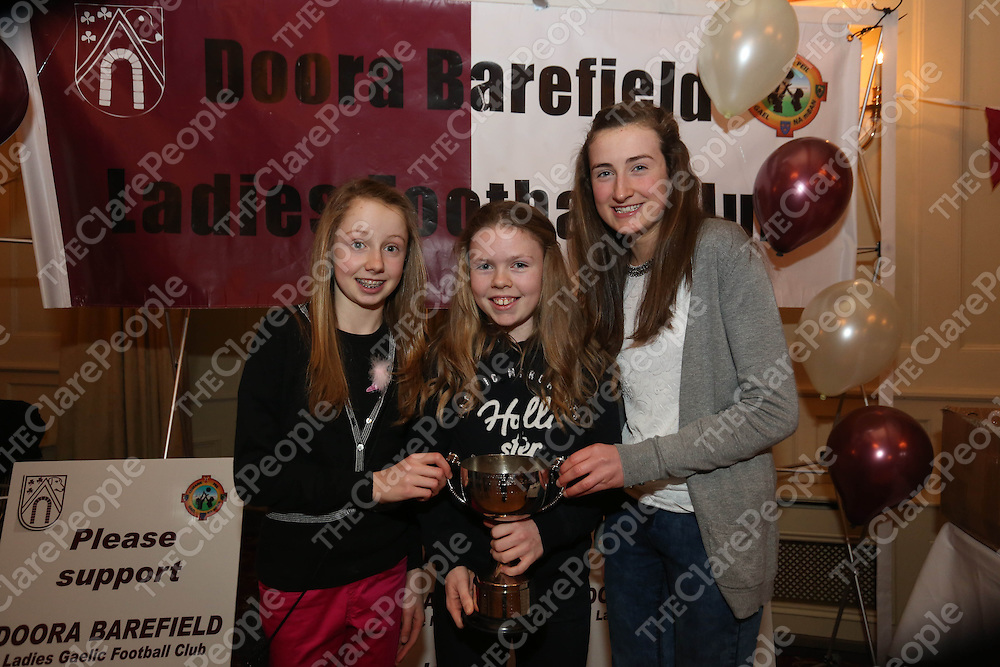 Shona Power, NiamhMc Donnogh and Eimear Hanrahan pictured at the DooraB for the Ladies Football Medal Presentation at the Old Ground Hotel on Saturday.<br /> Pic. Brian Arthur/ Press 22.