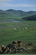 Mongolia. Orkhon valley landcape . yurts camp and horses herd