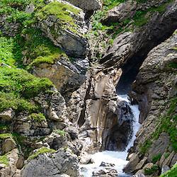 July 2012 Swiss Alps, Berner Oberland, Region between Lauenen Gstaad and Lenk. On the way between Geltenhütten and Wildhorn Hütte. .Geltenschuss, Geltenbach