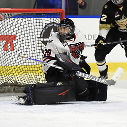 BUFFALO, NY - SEP 21,  2017: Ontario Junior Hockey League Governors Showcase game between the Trenton Golden Hawks and Milton Icehawks, Noah Battaglia #39 of the Milton Icehawks follows the play during the third period.<br /> (Photo by Andy Corneau / OJHL Images)