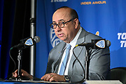 UCLA Bruins athletic director Dan Guerrero speaks at a news conference to introduce Mick Cronin as head basketball coach on the campus in Los Angeles Wednesday, April 10, 2019. Cronin was hired as UCLA's basketball coach Tuesday, ending a bumpy, months-long search to find a replacement for the fired Steve Alford. The university said Cronin agreed to a $24 million, six-year deal. (Dylan Stewart/Image of Sport)