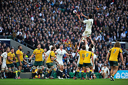 Courtney Lawes of England rises high to win lineout ball - Photo mandatory by-line: Patrick Khachfe/JMP - Mobile: 07966 386802 29/11/2014 - SPORT - RUGBY UNION - London - Twickenham Stadium - England v Australia - QBE Internationals