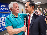 27 JULY 2019 - DES MOINES, IOWA: JULIÁN CASTRO, right, talks to man after a NARAL town hall in Des Moines Saturday. The town hall was about preserving women's health care choices, but Castro also used as an opportunity to talk about the differences between him and President Donald Trump. Castro, the Secretary of Housing and Urban Development during the Obama administration, is running to be the Democratic candidate for President in 2020. Iowa traditionally hosts the first event of the Presidential selection season. The Iowa Caucuses will be on Feb. 3, 2020.             PHOTO BY JACK KURTZ