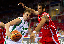 Primoz Brezec of Slovenia vs  Hamed Ehadadi of Iran during  the Preliminary Round - Group B basketball match between National teams of Slovenia and Iran at 2010 FIBA World Championships on September 2, 2010 at Abdi Ipekci Arena in Istanbul, Turkey. (Photo By Vid Ponikvar / Sportida.com)