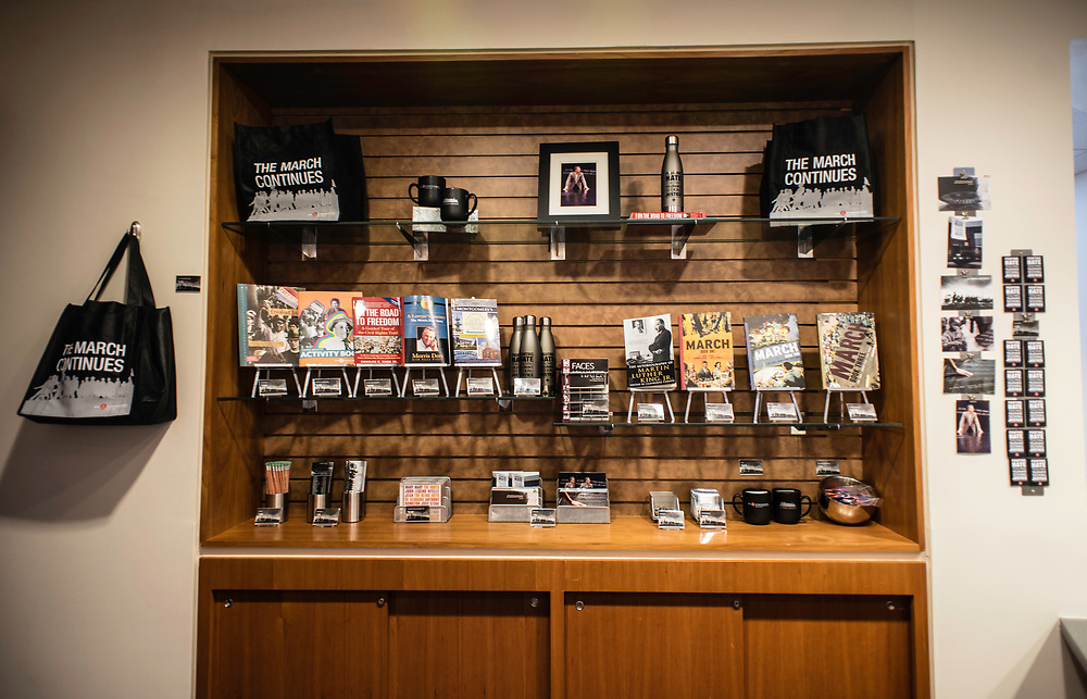 MONTGOMERY, AL -- 5/25/17 -- The Civil Rights Memorial Center is located in the former headquarters of the Southern Poverty Law Center. Dedicated to telling the story of the Civil Rights Movement, the museum sees 40,000 visitors a year. A range of items are for sale in the gift shop, including a postcard featuring SPLC co-founder Morris Dees standing at the memorial.<br /> Civil Rights attorney Morris Dees co-founded the Southern Poverty Law Center in 1971. The group has taken on the Ku Klux Klan and fought for against hate for decades, but is now facing criticism that it has labeled some groups without just cause..&hellip;by Andr&eacute; Chung #_AC20051