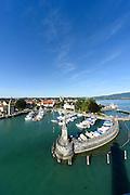 Blick vom Leuchtturm, Hafen von Lindau, Bodensee, Bayern, Deutschland