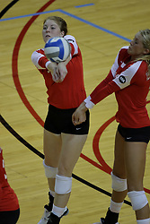 23 October 2010: Shannon McGlaughlin and Mallory Leggett collide going for the same ball during an NCAA, Missouri Valley Conference volleyball match between the Wichita State Shockers and the Illinois State Redbirds at Redbird Arena in Normal Illinois.