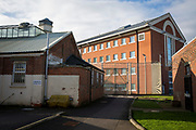 A designated staff vaping area near C wing. HMP YOI Winchester was built in 1846 and is typical of the Victorian prison, radial design. It is currently a Category B Local prison that serves the local courts, has an operational capacity of 690 and is able to take men from the age of 18 upwards.  HMP Winchester, Hampshire, United Kingdom. (All image use MUST be credited © prisonimage.org)