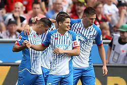 15.08.2015, BayArena, Leverkusen, GER, 1. FBL, Bayer 04 Leverkusen vs TSG 1899 Hoffenheim, 1. Runde, im Bild Steven Zuber (TSG 1899 Hoffenheim #17), Kapitaen Pirmin Schwegler (TSG 1899 Hoffenheim #16) und Fabian Schaer (TSG 1899 Hoffenheim #5) beim Torjubel nach dem Treffer zum 1:0 // during the German Bundesliga 1st round match between Bayer 04 Leverkusen and TSG 1899 Hoffenheim at the BayArena in Leverkusen, Germany on 2015/08/15. EXPA Pictures © 2015, PhotoCredit: EXPA/ Eibner-Pressefoto/ Schueler<br /> <br /> *****ATTENTION - OUT of GER*****
