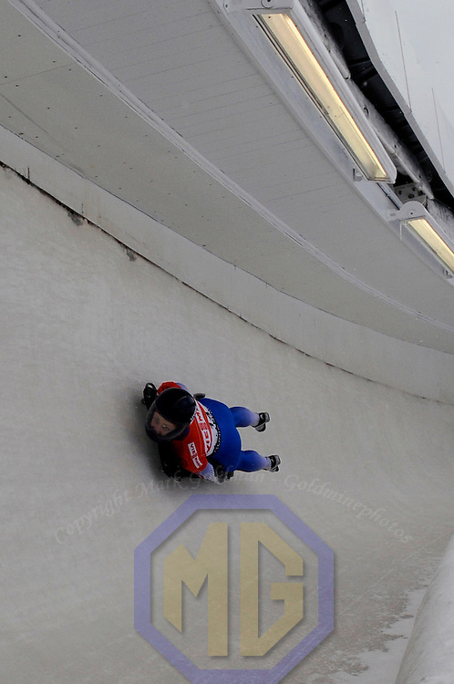 14 December 2007:  Olga Korobkina of Russia competes at the FIBT World Cup Women's skeleton competition on December 14, 2007 at the Olympic Sports Complex in Lake Placid, NY.  The race was won by Katie Uhlaender of the United States with a time of 1:52.60.