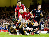 Rugby Union - 2016 / 2017 Pro12 - [Judgement Day V]: Newport Gwent Dragons vs. Scarlets<br /> <br /> Steffan Evans of Llanelli Scarlets  attacks, at Principality Stadium [Millennium Stadium], Cardiff.<br /> <br /> COLORSPORT/WINSTON BYNORTH