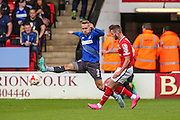 Walsall\s Anthony Forde manages to get a cross in despite the best efforts of Bury's Chris Hussey during the Sky Bet League 1 match between Walsall and Bury at the Banks's Stadium, Walsall, England on 5 September 2015. Photo by Shane Healey.