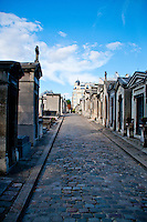 Rows of tombs in the Montmartre cemetery, Paris