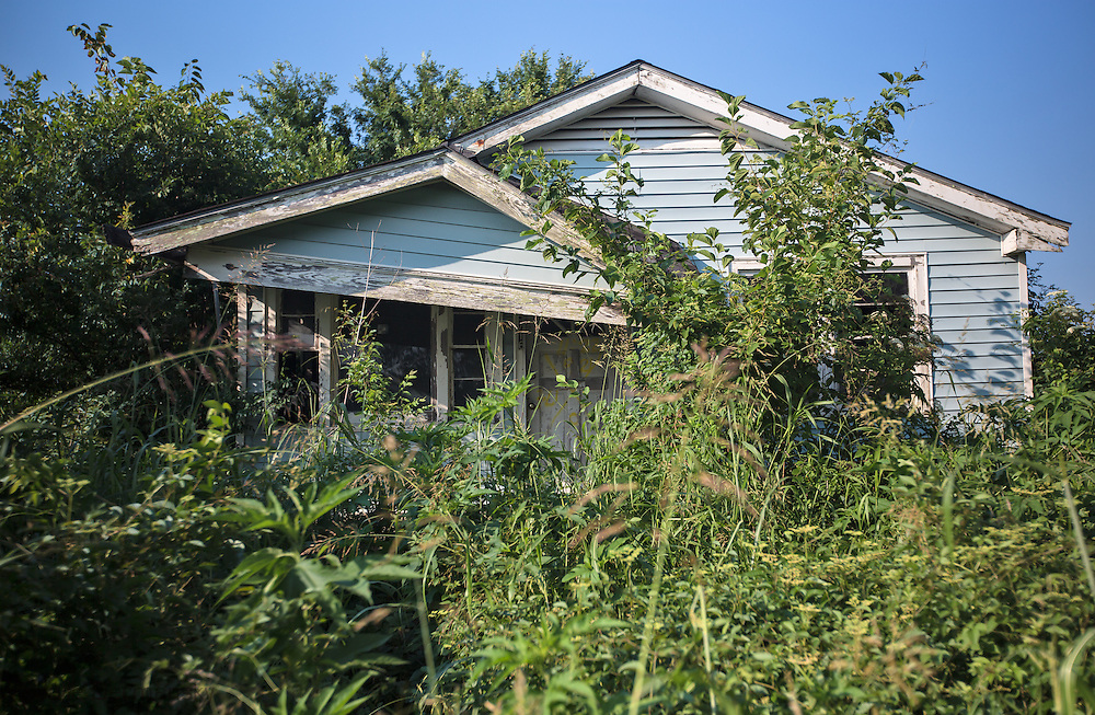Blighted home in New Orleans lower 9th Ward remains standing almost ten years after Hurricane Katrina.