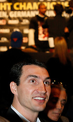 Apr 23, 2009; New York, NY, USA; IBF, WBO, IBO World Heavyweight Champion Wladimir Klitschko speaks at the press conference announcing his upcoming fight against David Haye.  The two will meet on June 20, 2009 at Veltins-Arena Soccer Stadium in Schalke, Germany.