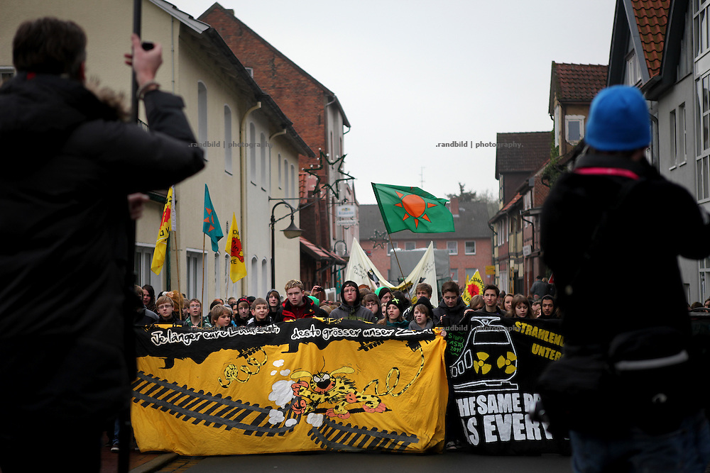 Instead of going to school about 1000 pupil demonstrate in Lüchow against a recent nuclear waste transport to Gorleben, Lower Saxony, Germany.