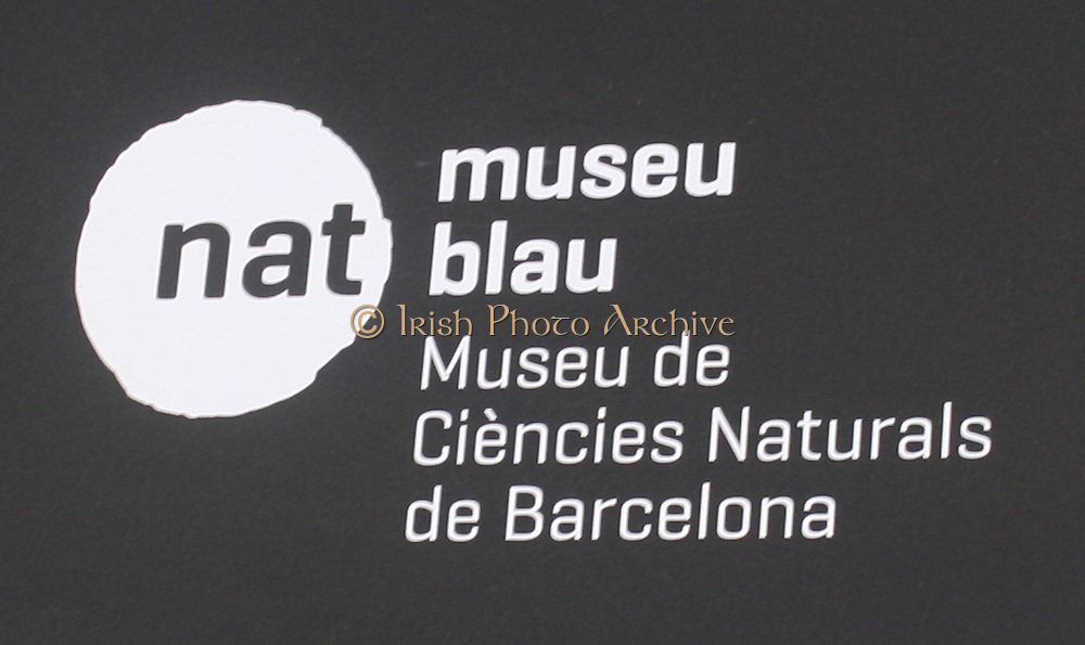 Sign for the Museu Blau of Sciences Barcelona. Located in the Forum Park the modern building houses a collections of rock, minerals, fossils, plants and animals from the Catalonian lands and the Mediterranean. Barcelona. Spain 2013