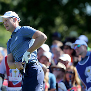 Ryder Cup 2016. Day One. Danny Willett of Europe tees off on the sixth in the Friday afternoon four-ball competition during the Ryder Cup at  Hazeltine National Golf Club on September 30, 2016 in Chaska, Minnesota.  (Photo by Tim Clayton/Corbis via Getty Images)