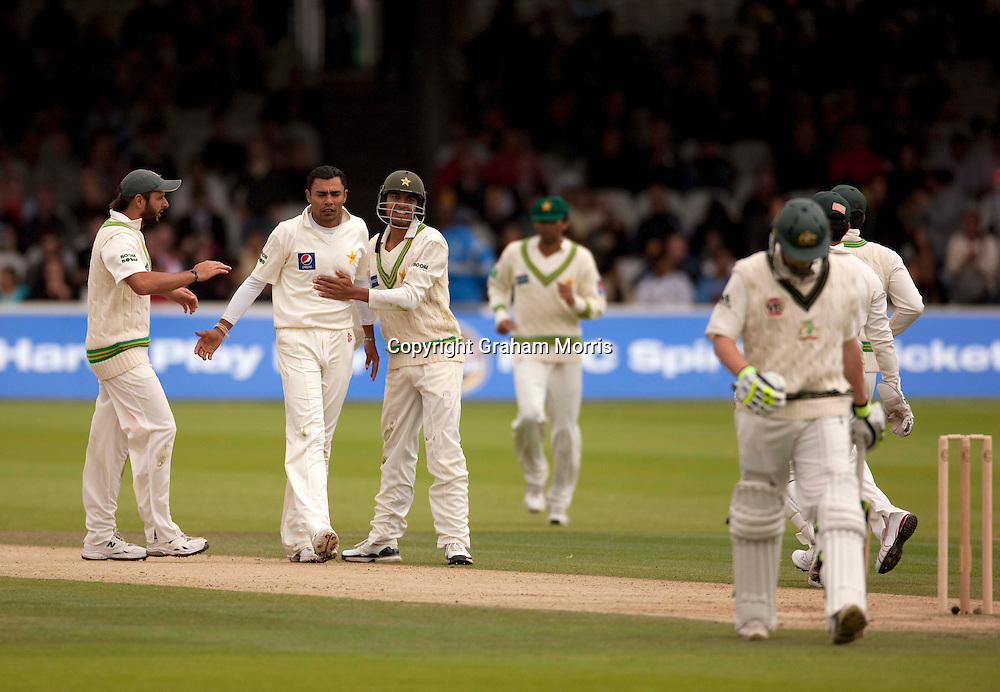 Bowler Danish Kaneria celebrates the dismissal of Steve Smith during the MCC Spirit of Cricket Test Match between Pakistan and Australia at Lord's.  Photo: Graham Morris (Tel: +44(0)20 8969 4192 Email: sales@cricketpix.com) 15/07/10