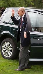 The Duke of Edinburgh arrives for the Bentley Motors Royal Windsor Cup Final at Guards Polo Club, Windsor Great Park, Egham, Berkshire.
