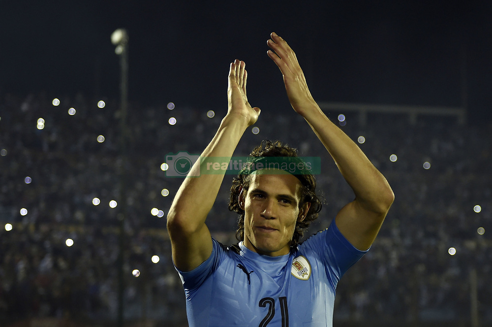MONTEVIDEO, Oct. 11, 2017  Uruguay's Edinson Cavani celebrates after the Russia 2018 FIFA World Cup qualifier match against Bolivia, at Centenario stadium, in Montevideo, Uruguay, on Oct. 10, 2017. Uruguay won 4-2.  ma) (da) (Credit Image: © [E]Nicolas Celaya/Xinhua via ZUMA Wire)