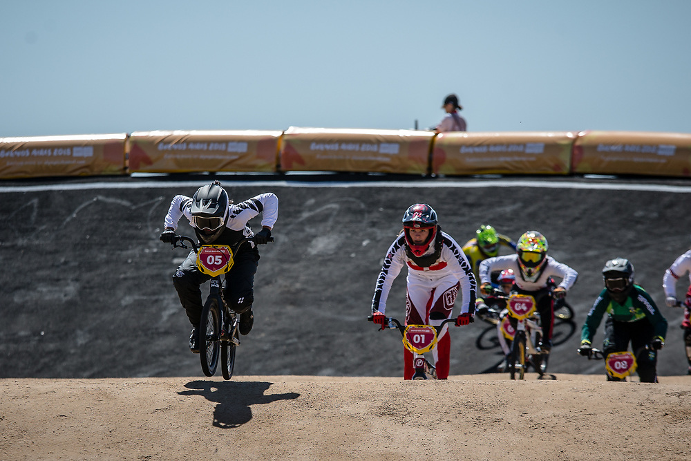 2018 Youth Olympic Games<br /> Buenos Aires, Argentina<br /> Mixed BMX - Race<br /> Motos<br /> SMITH Jessie (NZL)<br /> CLAESSENS Zoe (SUI)<br /> NAGARE Miru (JAP)<br /> NAVES BARRETO Maite (BRA)<br /> BRADFORD Elissa (GBR)