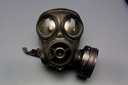 A gas mask recovered by police in the aftermath of the abortive raid on the Millennium Dome November 2000.  Four men were found guilty at the Old Bailey in London of plotting to carry out the robbery.
