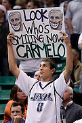 A Utah Jazz fan holds up a sign during the first half of Game 4 of the NBA Western Conference first-round playoff series in Salt Lake City, Sunday, April 25, 2010. (AP Photo/Colin E Braley)