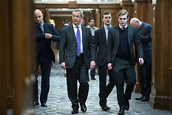 © Licensed to London News Pictures . 27/03/2017 . London , UK . NIGEL FARAGE and DAN JUKES arrive . UKIP leader Paul Nuttall delivers a speech setting out six tests on which UKIP will judge British Prime Minister Theresa May's Brexit negotiations , at the Marriott County Hall in Westminster . On Wednesday the British Government will trigger Article 50 of the Lisbon Treaty and commence Britain's withdrawal from the European Union . Photo credit : Joel Goodman/LNP
