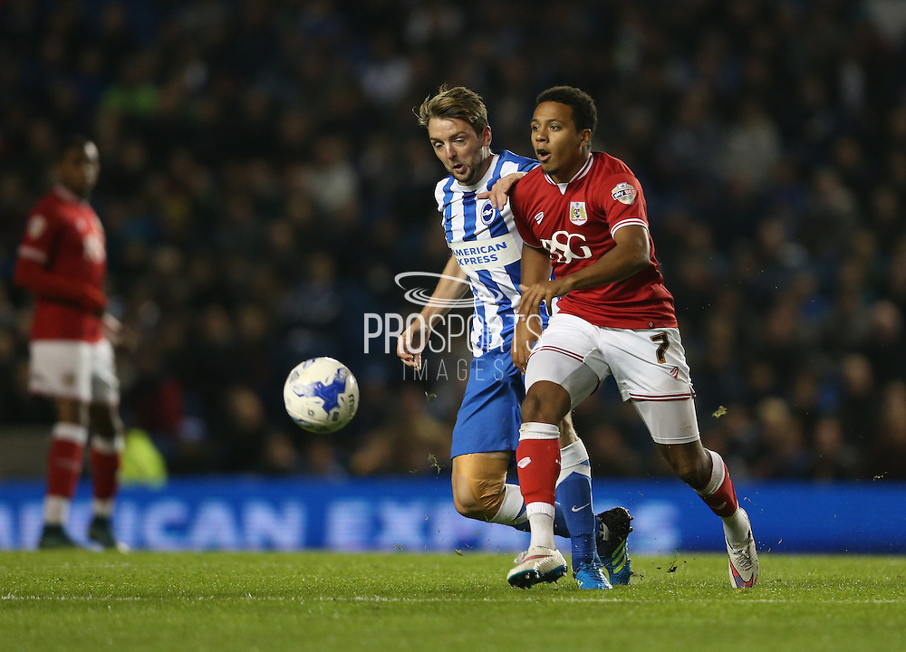 Bristol City midfielder Korey Smith (7) attacks during the Sky Bet Championship match between Brighton and Hove Albion and Bristol City at the American Express Community Stadium, Brighton and Hove, England on 20 October 2015.