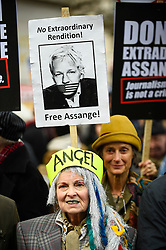 © Licensed to London News Pictures. 22/02/2020. LONDON, UK.  Vivienne Westwood poses for the media ahead of a march from Australia House in Aldwych to Parliament Square in support of Wikileaks founder Julian Assange.  The full extradition trial of Mr Assange begins in London on 24 February.  Photo credit: Stephen Chung/LNP