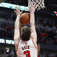24 March 2012: Chicago Bulls center Omer Asik (3) is seen on defense during the Chicago Bulls 102-101 victory in overtime over the Toronto Raptors at the United Center, Chicago, Illinois, USA.
