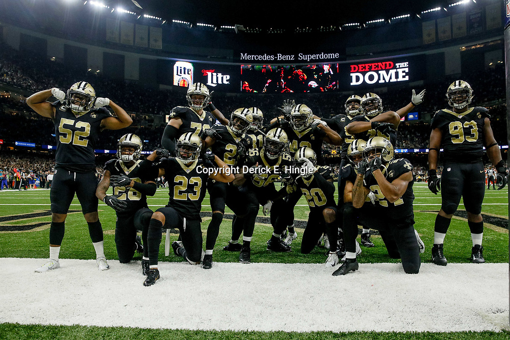 Sep 16, 2018; New Orleans, LA, USA; The New Orleans Saints defense poses after an interception safety Marcus Williams (43) during the fourth quarter of a game against the Cleveland Browns at the Mercedes-Benz Superdome. The Saints defeated the Browns 21-18. Mandatory Credit: Derick E. Hingle-USA TODAY Sports