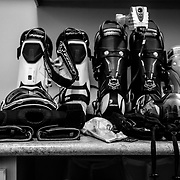 The equipment room in photographer Jay Goodrich's house after a day of skiing.
