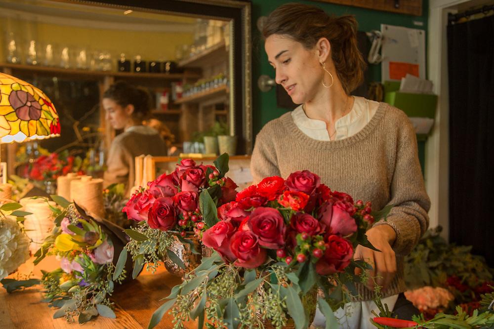 Lead Designer Larisa Minerva works at Bell and Trunk floral design studio in San Francisco
