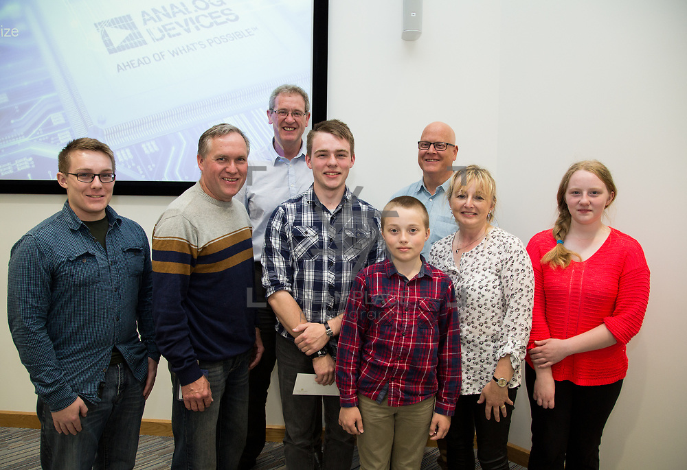 31.05.2017      <br /> University of Limerick Analog Devices Robbie McAdam Awards.<br /> Robbie McAdam Award recipient Oisin Watkins, 2nd year with family and  Dr. John Nelson, Head of The Electronic &amp; Computer Engineering (E&amp;CE) Department,UL and Mike Keaveney, ADI Fellow Analog Devices. Picture: Alan Place.
