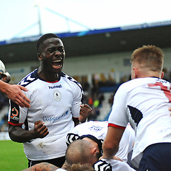 TELFORD COPYRIGHT MIKE SHERIDAN 13/10/2018 - Daniel Udoh of AFC Telford celebrates after Henry Cowans scores in the final minute during the Vanarama National League North fixture between AFC Telford United and Chorley