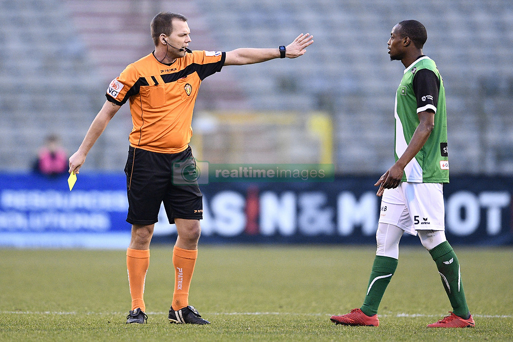 February 17, 2018 - Brussels, BELGIUM - referee Denis Vanbecelaere and Cercle's Isaac Kone pictured during a soccer game between Union Saint-Gilloise and Cercle Brugge, in Brussels, Saturday 17 February 2018, on day 27 of the division 1B Proximus League competition of the Belgian soccer championship. BELGA PHOTO YORICK JANSENS (Credit Image: © Yorick Jansens/Belga via ZUMA Press)
