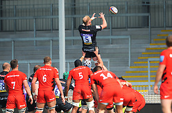 Josh Caulfield of Exeter Braves wins the line out - Mandatory by-line: Nizaam Jones/JMP - 22/04/2019 - RUGBY - Sandy Park Stadium - Exeter, England - Exeter Braves v Saracens Storm - Premiership Rugby Shield