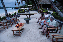 Guests Enjoy Strawberry Margaritas before Dinner, Turtle Island, Yasawa Islands, Fiji
