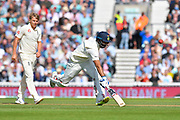 Hanuma Vihari of India has to dash to avoid being run out during day 3 of the 5th test match of the International Test Match 2018 match between England and India at the Oval, London, United Kingdom on 9 September 2018.