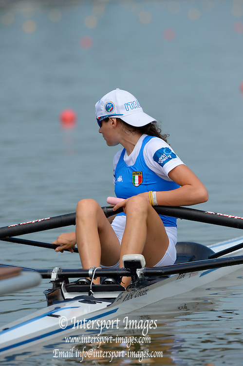 Chungju, South Korea.   ITA. LW1X  Denise ZACCO.  moves away from the start, Semi final A/B.  2013 Rowing Championships, Tangeum Lake, International Regatta Course.  Sunday  25/08/2013 [Mandatory Credit. Peter Spurrier/Intersport Images]