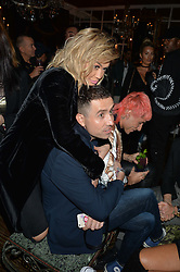RITA ORA and NICK GRIMSHAW at a dinner for JF London x Kyle DeVolle held at Beach Blanket Babylon, Ledbury Road, London on 29th September 2016.