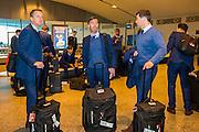 BILBAO - 09-12-15, Athletic Bilbao - AZ, Europa League, San Mames Stadion, AZ trainer John van den Brom, Nick van Aart, Assistent trainer Dennis Haar